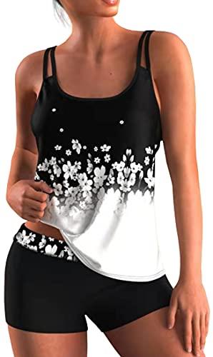 OLIPHEE Femme Tankini Couleur Shorty Grande Taille Fronde Maillot de Bain 2 Pièces Bikini Confortable à Porter(Noir Blanc,XL)