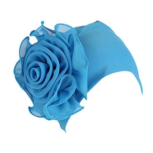 Amoyl Damen Turban Hut Moslems Retro Großes Blumen Krebs Chemo Hut Elegantes Kopftuch Kopfbedeckung für Haarausfall (Blau)