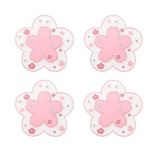 Hwtcjx sottobicchieri birra, sottobicchiere, 4 Antiscivolo Coaster, Realizzato in materiale PVC, isolamento termico, forma di fiori di ciliegio, per ristoranti, caffè, uffici ((115 x 115mm, rosa)
