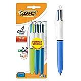 BIC 4 Couleurs Mini Stylos-Bille Rétractables Pointe Moyenne (1,0 mm) - Couleurs Classiques et Fantaisie Assorties, Blister Format Spécial de 3