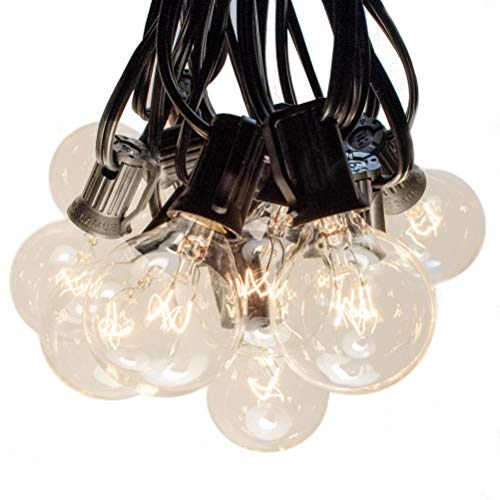 Hometown Evolution, Inc. 100 Foot G40 Globe Patio String Lights with Clear Bulbs (Black Wire)