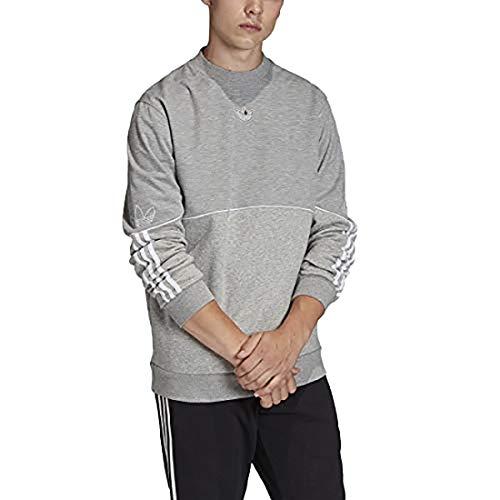 adidas Originals Men's Outline Crew Neck Fleece, Medium Grey Heather, XL