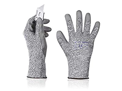 DS Safety C1002 Cut Resistant Work Gloves High Performance Level 5 Protection PU Coated Work Gloves with Durable Power Grip Foam Coated 5D Comfort Stretch Fit Work Gloves Grey 12Pairs(M) …