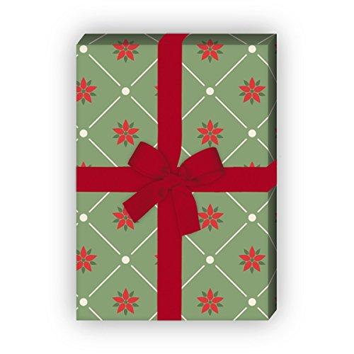 Kartenkaufrausch edel grafisch kerstcadeaupapier set 4 vellen, decoratief papier met kerstster, groen, voor leuke geschenkverpakking, patroonpapier om te knutselen 32 x 48 cm