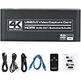KKTECT Dispositivo de Captura de Video HD 1080p USB3.0 HDMI 4K 60 fps Plug-N-Play, 3in1 HDMI Switch Dispositivo de Tarjeta de Captura de Video con Mic-in, para PS5 Windows iOS Linux