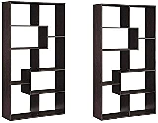 Mainstays Home 8-Shelf Bookcase, Set of 2, Brown