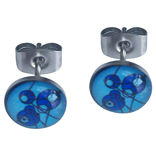 The Doctor Blue Time Lord Gallifreyan Stainless Steel and Glass Cabochon 8mm Earrings