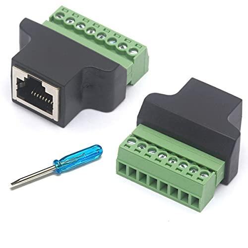 HTGuoji Ethernet RJ45 hembra a conector de terminal de tornillo de 8 pines Cat7 Cat6 Cat5 Cat5e Cable Converter CCTV Digital DVR Adaptador de red en línea Acoplador (RJ45 hembra 2 piezas)