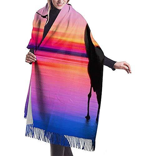 Houlipeng Flamingo at Sunset Scarf Lightweight Unisex Fashion Soft Scarves Fringe Shawl Wrap