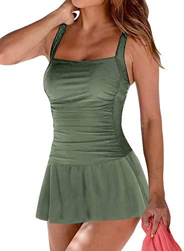 Arainlo - Bañador de una pieza con falda para mujer, estilo retro, con control de barriga, estilo retro Verde verde 38/40 ES