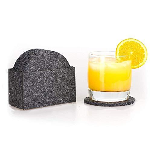 CarMa [ 8er-Set inkl. Box] Untersetzer Filz Premium Design dunkelgrau rund für Gläser, Tassen, Flaschen