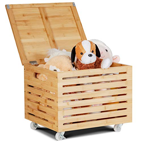 Giantex Rolling Storage Box Bamboo with 4 Wheels and Lid, Storage Organizer for Toys, Blankets, Pillow Binder, Fit for Home and Office Storage Chest (Natural)
