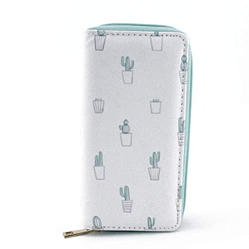 MrShuai Billetera De Cuero con Estilo De Las Mujeres Monedero Pequeño Y Lindo Mini Bolso Cactus Bonsai Hembra Sección Larga Tarjeta De Billetera De PU Paquete C