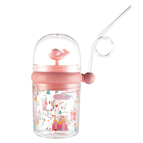 lefeindgdi Children's Water Spray Cup Water Bottle Whale Summer Plastic Children's Straw Water Cup drops-Resistant Student Jug Cute Bottle For Kid