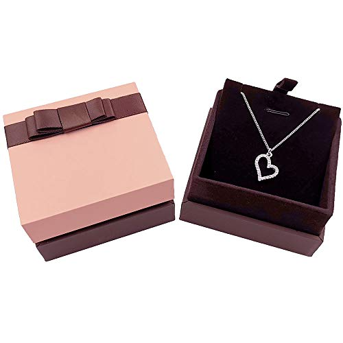 Bearda Necklace Gift Box - Upgrade Premium Hard Leather Cover Soft Velvet Interior Pad Pendant Display Jewelry Storage Case with Elegant Bowknot for Wedding, Birthday, Anniversary, Collectio (Pink)
