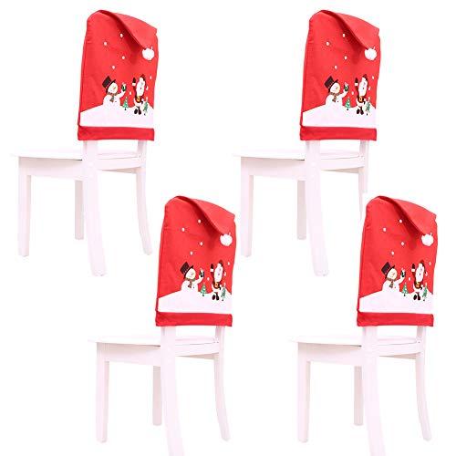 4 Santa Hut Stuhl Bezüge, Rote Hut Stuhl Rückseiten Abdeckungen Küchen Stuhl Abdeckungen Stellt für Weihnachtsfeiertags Festlichen Dekor, Xmas Weihnachten Party Decor,50 x 60 cm / 19,7 x 23,6 Zoll