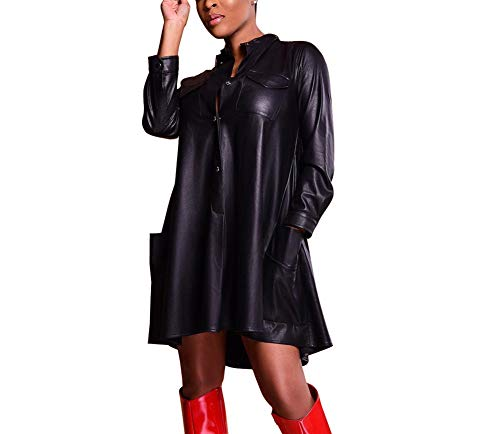 JUNBOON Women Faux Leather Loose Shirt Dress Long Sleeve A-line Cocktail Party Midi Dress Clubwear Black