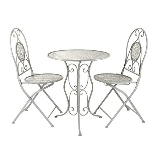 Set da giardino tavolino e 2 sedie pieghevoli in ferro grigio Grigio
