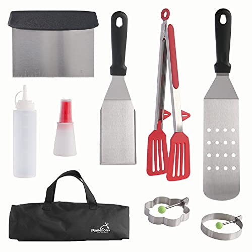 Pomelion Hibachi Grill Accessories Set, Flat Top Grill Accessories and Griddle Tools with Egg Rings, Fish Spatula, Silicone Tongs, BBQ Griddle Accessories Kit with Oil Brush for Cooking