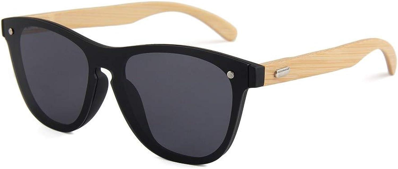 LTWAAXP Sunglasses Wooden Sunglasses For Women Fashion Uv400 Mirror Lenses Bamboo Sunglasses For Men,Black