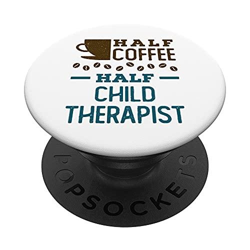 Linda mitad de café terapeuta niño psicólogo divertido PopSockets PopGrip Intercambiable