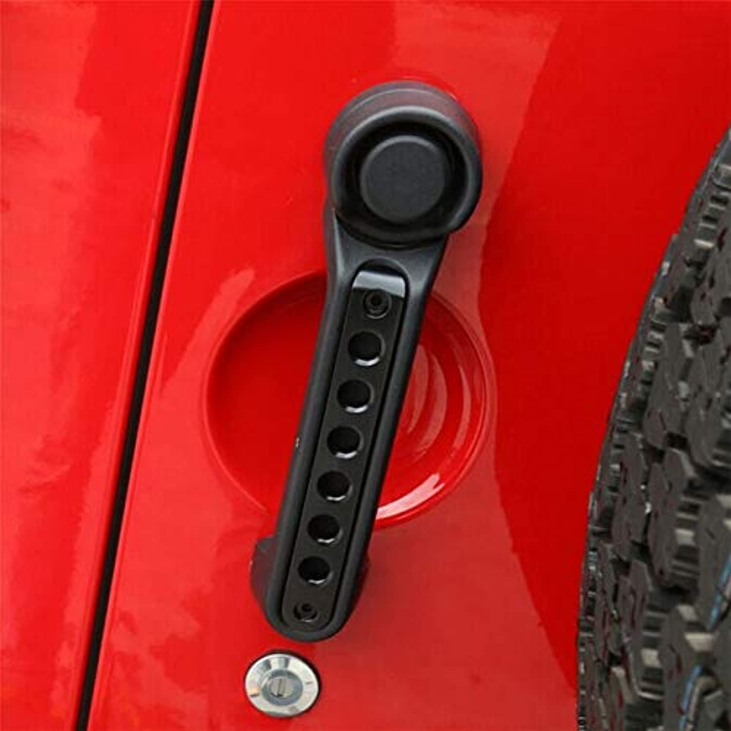 Car Handle Bar Trim Moulding Kits Cover Sticker Accessories Zinc Alloy Aluminum Frame Decoration for Jeep Wrangler 07-16 4 Doors - (color Name  Black)