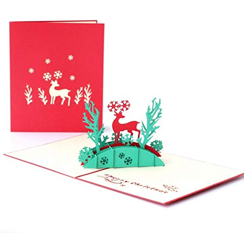 3D Christmas Greeting Cards Pop Up Christmas Cards Handmade Holiday Christmas Greeting Cards Deer Xmas cards
