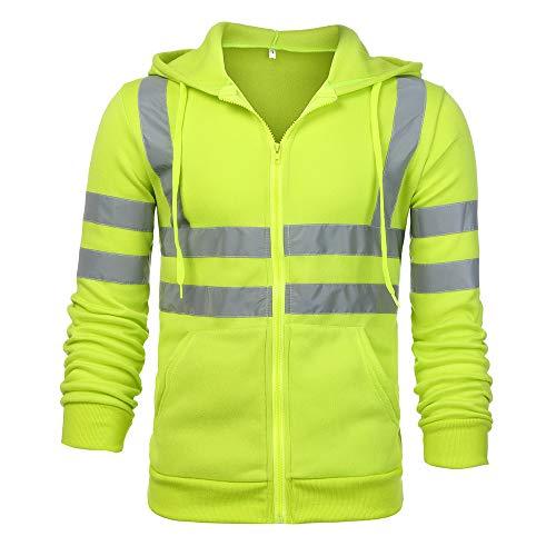 Liusdh Herren Einfarbig Reflektierend Mit Kapuze Lange Ärmel Sweatshirt oben Regenjacken-mäntel(Green2,M)