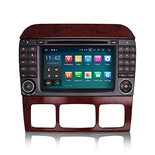 ERISIN 7 Zoll Android 10.0 Autoradio für Mercedes Benz S/CL-Klasse W220 W215 mit GPS-Navi Unterstützt Carplay Android Auto Bluetooth A2DP WiFi 4G DAB + RDS Mirror- Link TPMS 2GB RAM + 16GB ROM