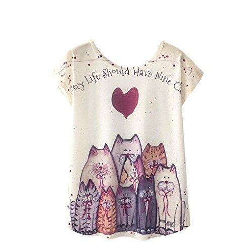 QinMM Camiseta Tops Estampada para Mascotas de Mujer, Camisa de Verano de Gato de Perro de Manga Corta (M, A)