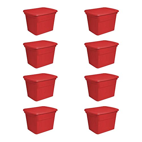 Sterilite 18 Gallon Heavy Duty Plastic Stackable Storage Container with Lid, Red (8 Pack)