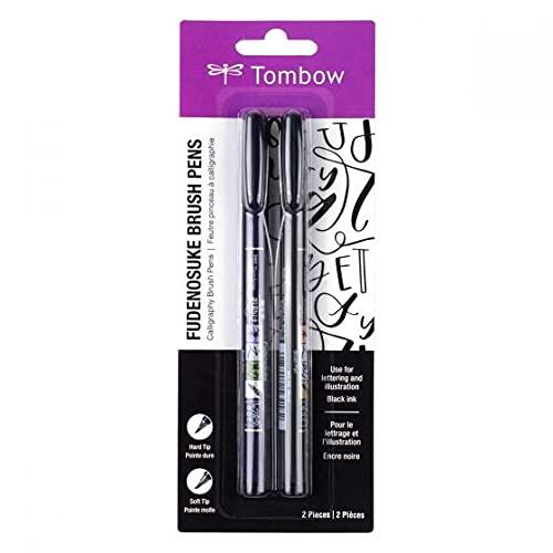 Tombow 62038 Fudenosuke Brush Pen con punta suave y dura, negro, 2 piezas