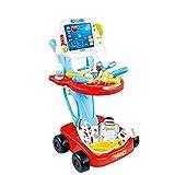 unknows Kit de Carrito de Doctor, Herramientas médicas Completas con Estetoscopio, jeringa y Rayos X, Juguetes de simulación para niños, Juguetes de Doctor para niños de 2 a 3 años