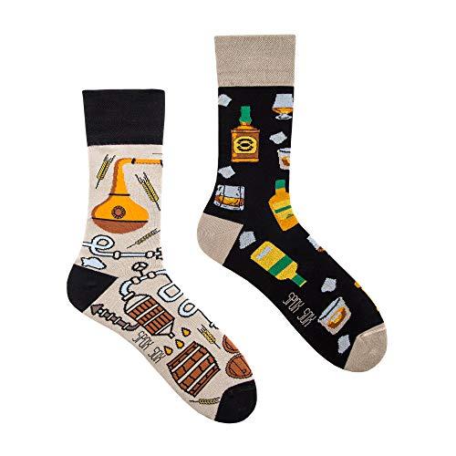 Spox Sox Casual Unisex - mehrfarbige, bunte Socken für Individualisten, Gr. 44-46, Whisky