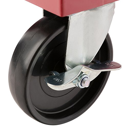 Arebos Werkstattwagen 5 Fächer/zentral abschließbar/Anti-Rutschbeschichtung/Räder mit Festellbremse/Massives Metall/rot, blau oder schwarz (rot) - 3