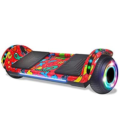 cho Electric Hoverboard Smart Self Balancing Scooter Hover Board Built-in Speaker LED Wheels Side Lights for Kids- Safety Certified (Flat Image Red)