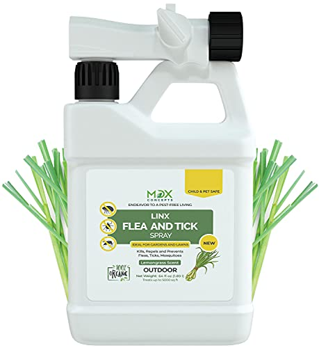 mdxconcepts Natural Flea & Tick Control Spray for Yard- Outdoor Mosquito/Pest/Insect Repellent for Backyard- Pet Safe & Kid Friendly