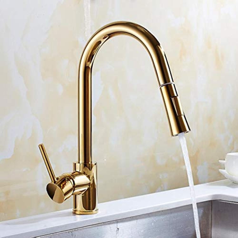 FZHLR Chrom Gold Nickel Küchenarmaturen Silber Einhand-Out Pull-Küche-Hahn-Einzelnes Loch Rotating Wasser-Mischer-Hahn-Mischer-Hahn, Gold