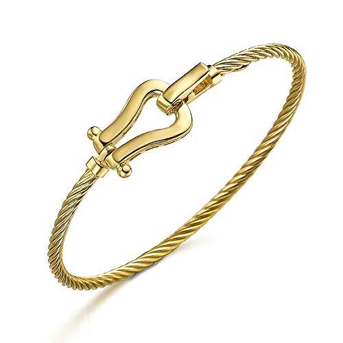 Pulsera con forma de Cordón que se une a un Estribo, todo ello de plata 1ª Ley, recubierto de Oro 18kt, de LECARRÉ JOYAS.