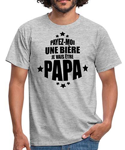 Spreadshirt Payez-Moi Une Bière Je Vais Être Papa T-Shirt Homme, L, Gris chiné