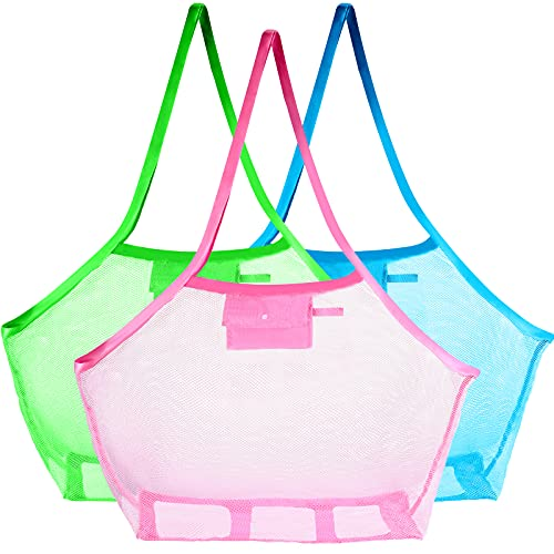 3 Pieces Extra Large Beach Toy Mesh Bag Foldable Childrens' Toy Storage Swimming Equipment Storage Bag Laundry Tote Backpack for Holding Beach Toys, Stay Away from Sand and Water, Toy Not Included