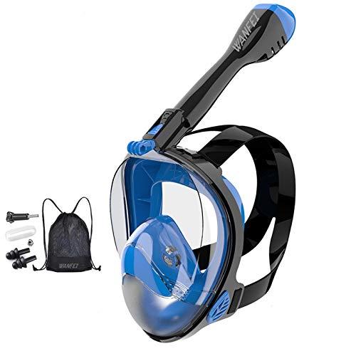 WANFEI Maschera Subacquea,Maschera Snorkeling con Visuale Panoramica 180° Design Pieno Facciale e Compatibile con Videocamere Sportive Maschera Anti-Appannamento Impermeabile Anti-Perdite