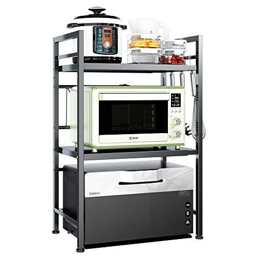 Pusdon - Estante extensible para horno de microondas, resistente y ajustable para microondas/tostadoras (3 niveles con 3 ganchos,...