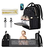 Xinsilu Diaper Bag Backpack with Changing Table-Travel Backpack, Storage Diaper Bag with Sturdy Folding Crib, Baby Cradle Backpack, Built-in USB Port, Color (BlackGrey)