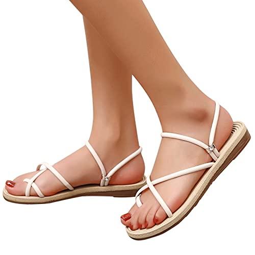 WellingA Sandales Femme Plage Sandalettes Eté Summer Chaussures Cross Sangle Shoes Flat Cheville Deux Usures Tongs Souliers Croix de Dame avec Orteil Plat Sandales Compensées,003,35EU