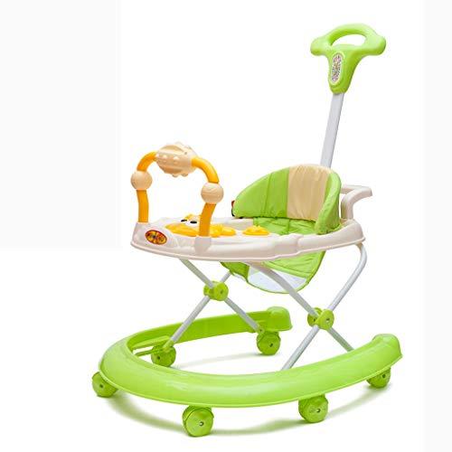 Moolo Trotteurs Baby Walker, Premiers Pas Comprend 6 Mois à 15 kg 3 en 1 Roues de Transport Légère Musique Centre de Jeu Amovible et Hauteur du siège réglable (Couleur : Vert)