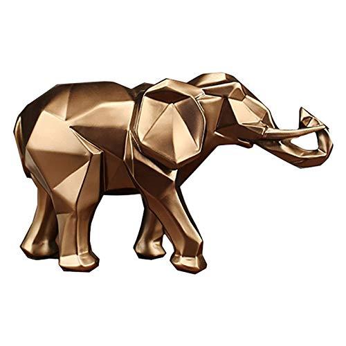 NSXIN Elefanten Deko-Figur Golden Kunstharz Elefanten Statuen Reichtum Lucky Elefantenfiguren Home Decor Geschenk