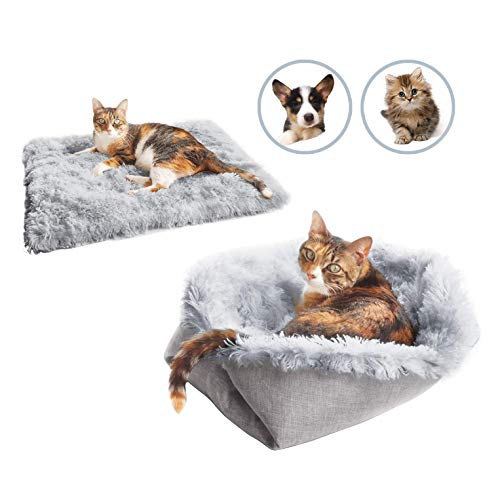 YUEBAOBEI Pet Bed for Cat Small Dogs, 2 in 1 Plush Soft Comfortable Blanket, for Indoor Cats Dogs Warm Pet Bed Fluffy, Improve Sleeping, Extra Bonus Pet Gift for Kittens Puppy Dog,A
