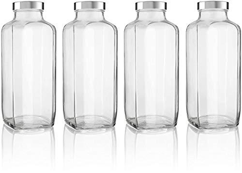Botella francesa de vidrio gruesa con tapa de plástico / 32 oz - Almacena agua, jugo, yogurt, kéfir. Envasa tu producto u organiza tu alacena. (6, 32 oz)
