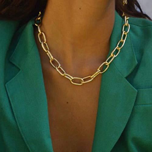 TseenYi, collana punk grossa con fermacarte dorata, collana girocollo ovale a catena regolabile per donne e ragazze (oro)